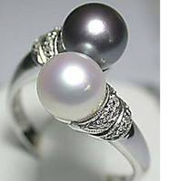 Wholesale Cheap Ring Real - Wholesale Cheap Hot Sell! Real Black White Freshwater Pearl Silver Ring Size:7 8 9