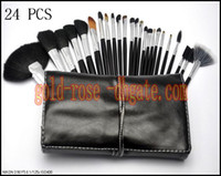 Wholesale Leather Pieces Black - Best selling products new Professional Brush 24 Pieces + leather Pouch +GIFT