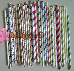 Wholesale Polka Dots Paper - 3000pcs Free shipping Mixed Colorful paper straws for party favor, Polka Dot Striped Paper Straw,Paper Straws, Drinking Straw