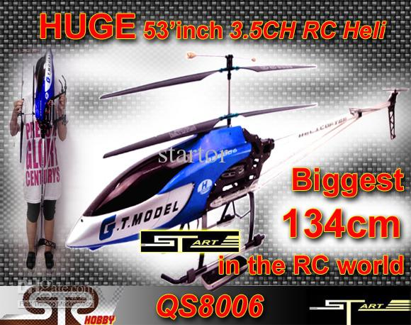 XMAS Gift Biggest 53' 134cm 3.5ch Gyro metal frame 2 Speed Model rc helicopter LED lights QS8006 RTF