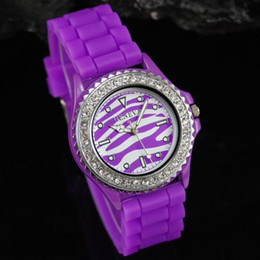 Wholesale Geneva Zebra Watches - Geneva Zebra Quartz Watch Colored Jelly Wristwatches Lady Silicone Xmas gift Diamond best sell 10pcs