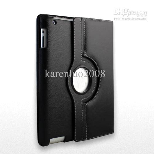 360 Degree Rotating Stand Case Cover for iPad 2/3/4 Leather case Black
