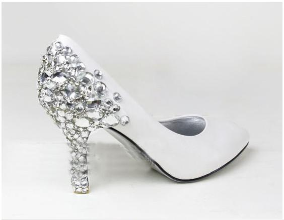 Fashion White Diamond Wedding Shoes Bridal Bridesmaid Party Prom Size Custom Made
