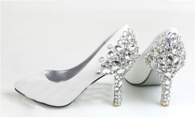 Fashion White Diamond Wedding Shoes Bridal Shoes Bridesmaid Party ...
