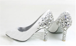 Wholesale Bridal Shoes Diamonds - Fashion White Diamond Wedding Shoes Bridal Shoes Bridesmaid Party Shoes Prom Shoes Size Custom Made