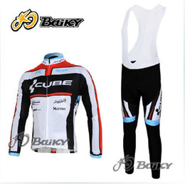 Wholesale Cube Black Thermal - 2011 CUBE Winter Fleece Thermal Black Long Sleeve Cycling Jersey + Bib Pants C074