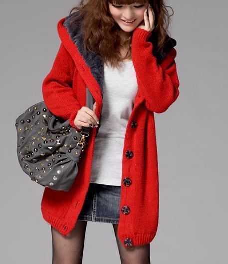 2018 2014 New Women'S Sweater Coat Cardigan Even Cap Long Pattern ...