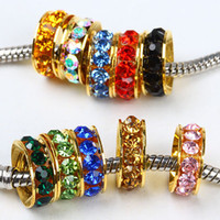 Wholesale Gold Spacers Mixed - 100pcs Gold Tone Mixed Color Rhinestone Crystal Rondelle Spacers European Big Hole Beads For Charms Bracelet Chain Jewelry Findings