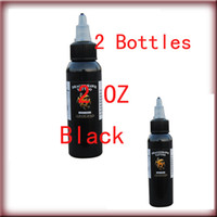 Wholesale top ink tattoos - Free shipping 2 Bottles Top Tribal Black Tattoo Ink Pigment 60ml 2 oz Kit Supply