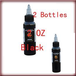 Wholesale Top Tattoo Inks - Free shipping 2 Bottles Top Tribal Black Tattoo Ink Pigment 60ml 2 oz Kit Supply