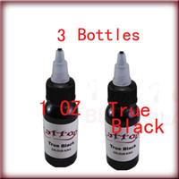 Wholesale True Black Tattoos - Freeshipping Top 30ml 1 oz 3 Bottles Set True Black Tattoo Ink Pigment Supply