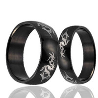 Wholesale tungsten rings for couples - Couple's Tungsten Ring Black & Dragon Laser Fashion Jewelry Rings 8mm for Men and Women
