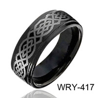 Wholesale laser tungsten - Fashion Handmade Rings Black Tungsten Ring Celtic Laser WRY-417 Hot Sales Jewelry Finger Rings