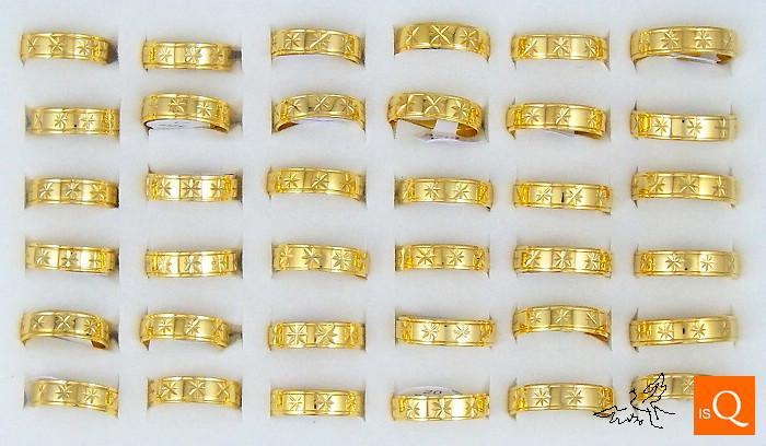6mm 18k GP Guldpläterad Ring Graverade blommor Hög polering Komfort Fit Rostfritt stål Ringar