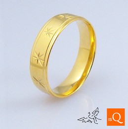 Wholesale Gold Comfort Fit Wedding Band - 6mm 18K GP Gold Plated Ring Engraved Flowers High Polishing Comfort Fit Stainless Steel Rings