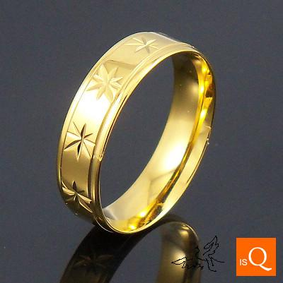 6mm 18K GP Gold Plated Ring Engraved Flowers High Polishing Comfort Fit Stainless Steel Rings