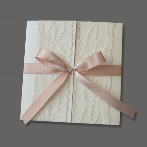 Wedding Invitations Lace Over Surface With Pink Ribbon Invitation Card Wedding  Invitation Cards