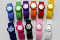 Wholesale Jelly Watches For Kids - 100pcs Snap Slap Watch Silicone Candy Jelly Watches Fashion clap for Children and Kids