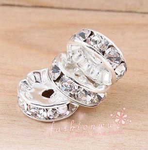 Accessori fai da te 10 MM rame dritto argento placcato cz perforazione cerchio 20 PZ perle di cristallo