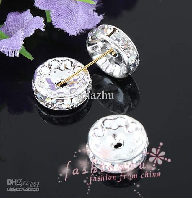 Accessoires de bricolage 10 mm cuivre bord droit argenté cz forage cercle perles de cristal