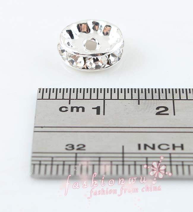 DIY accessories 10 MM copper straight edge silver plated cz drilling circle crystal beads