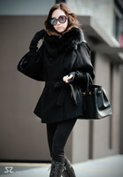 Hooded outerwears wool jacket - Hot Korean Fashion Style Women Big Size Noble Wool Coats with Fox Fur Collar Black Outerwears Lady Flare Sleeve Hat Detachable Jackets