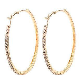 Мода ювелирные изделия позолоченные 5 пар 55 мм большой кристалл серьги Хооп круг серьги