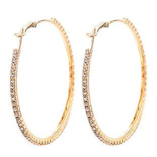 Fashion Jewellery gold plated 55MM Big Crystal Earring Hoop Circle Earrings