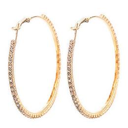 Wholesale Fashion Jewellery Hoop Earring - Fashion Jewellery gold plated 5 pairs 55MM Big Crystal Earring Hoop Circle Earrings