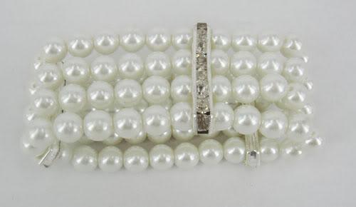 Al por mayor - joyería de la boda pulsera de cuatro filas ELÁSTICO CRISTALINO pulsera de perlas