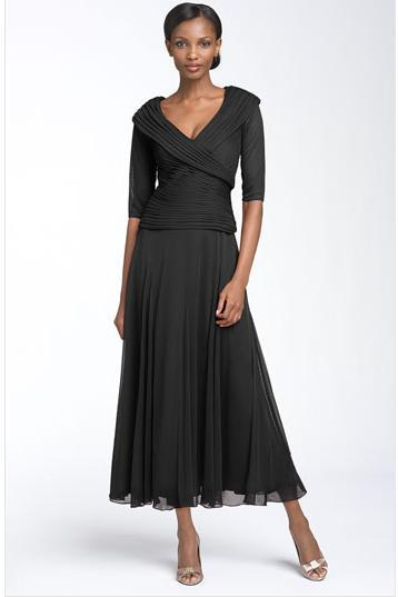 Black Tea Length Dresses with Sleeves