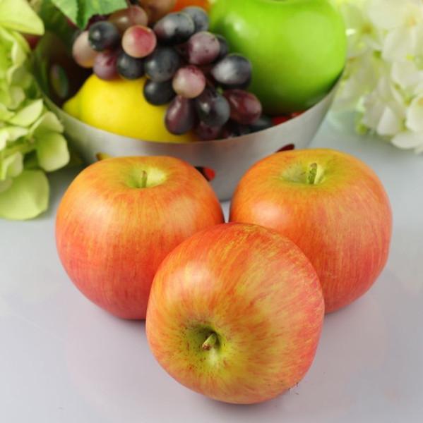 12 Pcs / lot Grandes pommes rouges à la maison en plastique décoratif de fruits artificiels