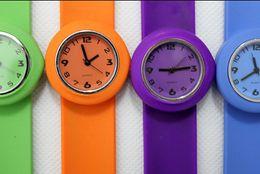 Wholesale Slap Watch Wholesale - 100pcs New Style Slap Snap Watches Silicone Quartz Jelly Candy Sport Children & Kids Glossy Watch