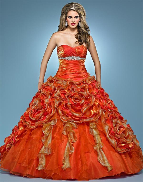 2012 quinceanera dresses orange organza gold ruched flowered prom 2012 quinceanera dresses orange organza gold ruched flowered prom pageant dress wedding bridal gown neon prom dresses nice prom dresses from hotshop junglespirit Images