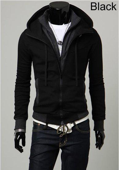Hot Sale Mens Stylish Slim Double Zipper Hoodies Jacket Mens ...
