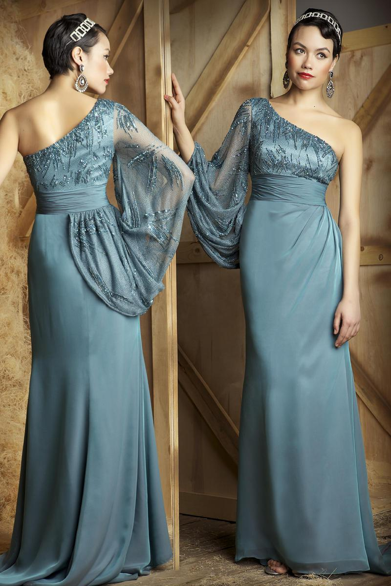 Sheath one sleeved Floor- Length Chiffon Prom Dress green blue party ...