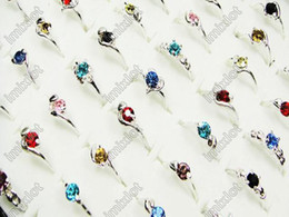 Wholesale Silver Crystal Rings Wholesale - Ring Jewely 100pcs lot CZ Crystal Rhinestone Silver P Rings Fashion Ring Women Jewelry Free Ship [F19*100]