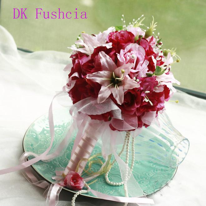 Dark Fuchsia Wedding Bouquet Size 24cm X 35 Cm 7 Different Colors Artifical Flowers FD S5