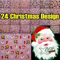 Wholesale Nail Stickers Ems - NEWEST!!! 24 Style Christmas Design 3D Nail Art Sticker Tip Decal Decoration Tips Set * FREE EMS *