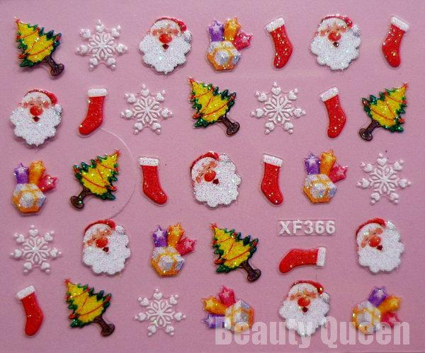 NEWEST! 24 스타일 크리스마스 디자인 3 차원 네일 아트 스티커 팁 데칼 장식 팁 세트 * 무료 EMS *