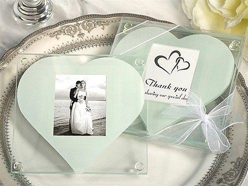 DHL 무료 배송! 하나의 화이트 하트 디자인, 결혼식 호의, 유리 컵 받침 / 세트와 함께 / 유리 사진 컵 받침