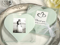 Wholesale Wedding Favors Glass Photo - DHL Free Shipping! 30pcs lot,Glass Photo Coasters with One white heart design,wedding favors, glass coasters (2pcs  Set)