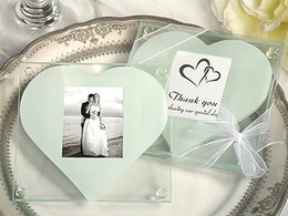Wholesale Wedding Favors Glass Coasters - DHL Free Shipping! 30pcs lot,Glass Photo Coasters with One white heart design,wedding favors, glass coasters (2pcs  Set)