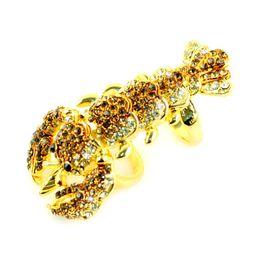 Doppel-finger-legierung ring online-Doppelter Fingerringe des Goldhummers, Rhinestone schellt, Legierungsring, 3pcs / lot, RN-599.jpg