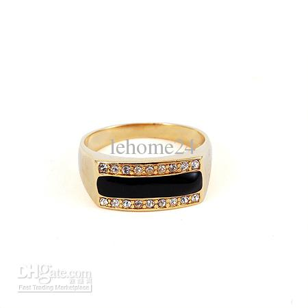 2018 Hot Mens Jewelry 18k Yellow Gold Filled Ring Czs Black Stone