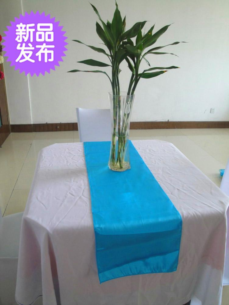 Free Shipping Blue Table Runner Satin Wedding Party Table Flags 12u0027u0027*108u0027u0027  /30*275CM Table Runners