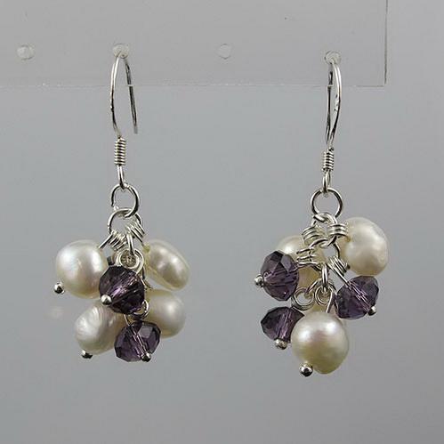Потрясающе! 4rows барокко жемчужина +Кристалл ожерелье серебряные серьги комплект ювелирных изделий горный хрусталь застежка A2260