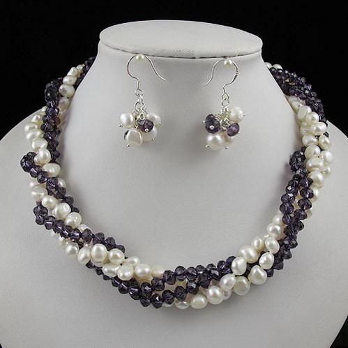 Fantastisk! 4OWS BAROQUE PEARL + CRYSTAL Halsband Silver Earring Smycken Set Rhinestone Clasp A2260