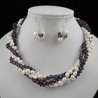 ensembles de bijoux baroques achat en gros de-Incroyable! 4rows perle baroque + collier en cristal argent boucle d'oreille bijoux ensemble fermoir strass A2260