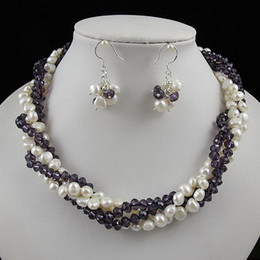 Wholesale White Baroque Pearl Earrings - Amazing! 4rows Baroque pearl +crystal necklace silver earring jewelry set Rhinestone clasp A2260